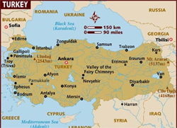 Turkey map 250X180