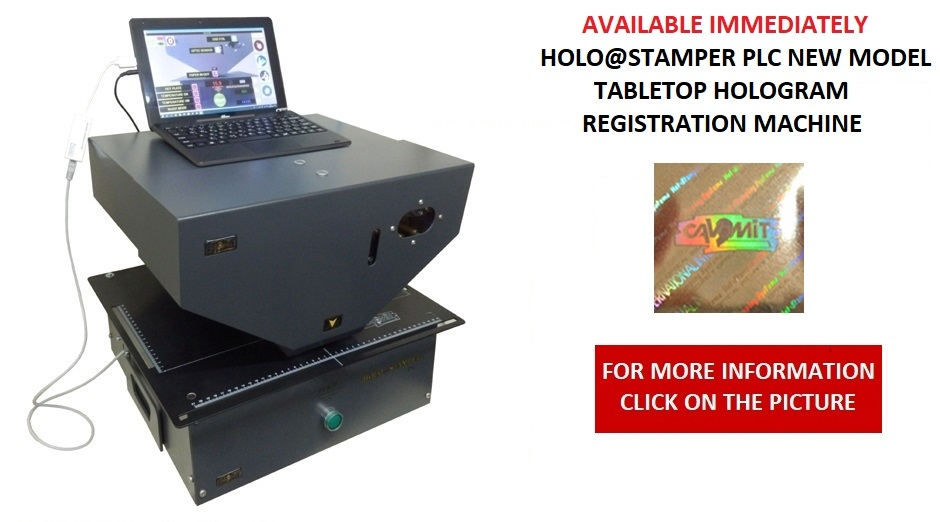 AVAILABLE  IMMEDIATELY CAVOMIT HOLO@STAMPER PLC TABLETOP HOLOGRAM REGISTRATION MACHINE I